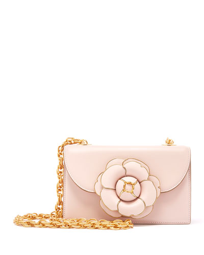 Tro Flower Leather Crossbody Bag - Golden Hardware