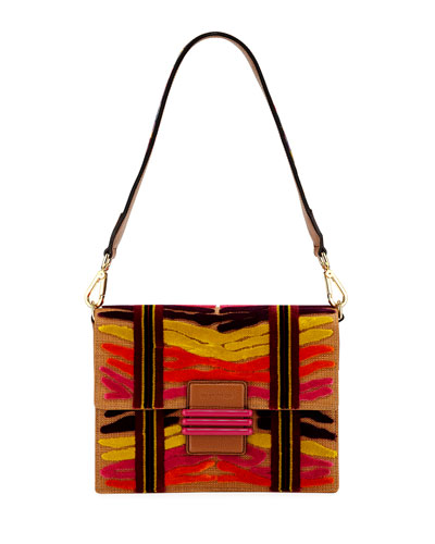 Patterned Embroidered Shoulder Bag