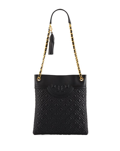 Fleming Diamond-Quilted Swing-Pack Tote Bag - Brass Hardware