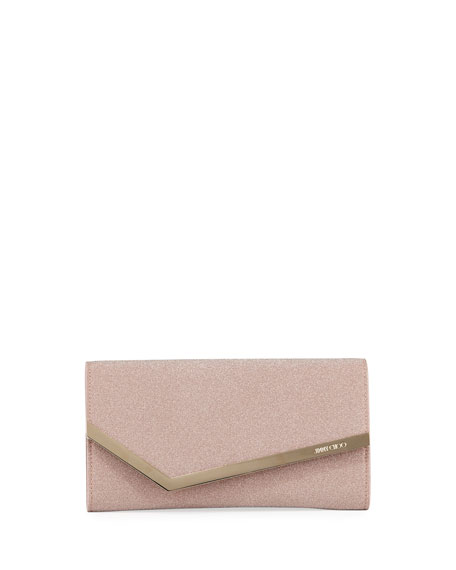 Jimmy Choo Emmie Fine Glitter Fabric Clutch Bag