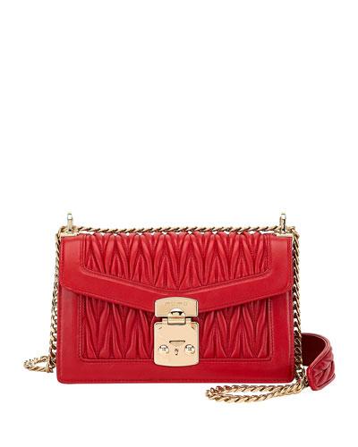 Miu Confidential Matelasse Leather Flap Shoulder Bag