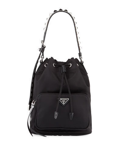 Prada Black Nylon Bucket Bag with Studding
