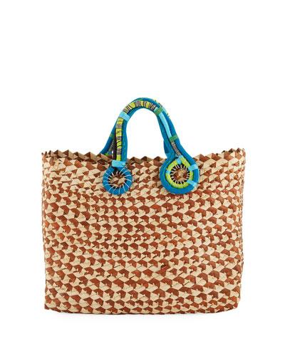 Quick Look Nannacay Cotio Belle Woven Colorblock Tote Bag