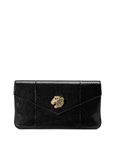 Rajah Snakeskin Envelope Clutch Bag