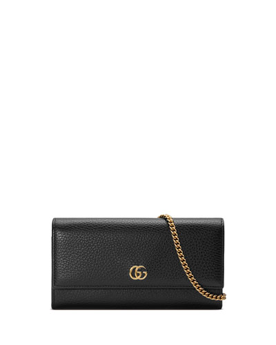 Petite Marmont GG Leather Flap Wallet on a Chain