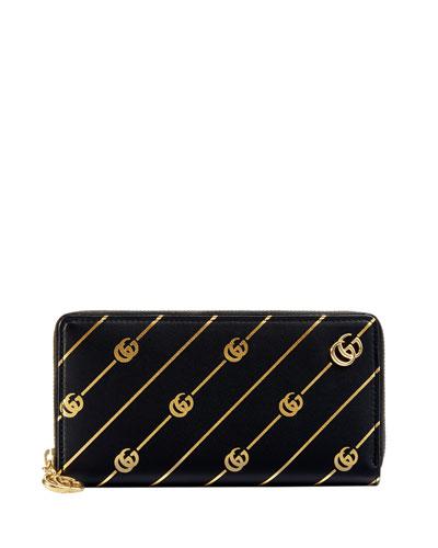 GG Diagonal Leather Zip-Around Wallet