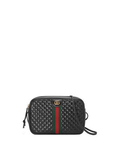 Trapuntata Small Quilted Leather Crossbody Camera Bag
