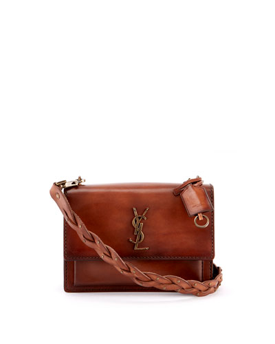 Sunset Medium YSL Monogram Flap Shoulder Bag - Ruthenium Hardware