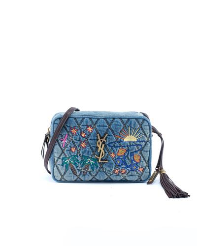 Lou YSL Monogram Quilted Embroidered Denim Crossbody Camera Bag