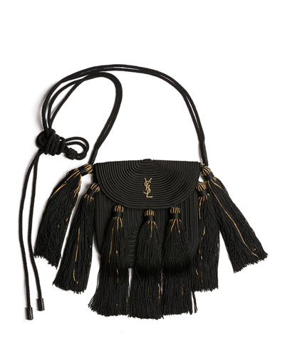 Vintage Passementerie Small Monogram YSL Shoulder Bag with Tassels - Golden ...