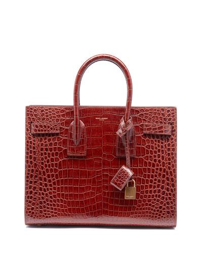 Sac de Jour Small Crocodile-Embossed Satchel Bag - Bronze Hardware