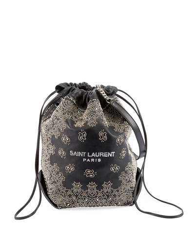 Teddy Large Bandana Studded Drawstring Bucket Bag