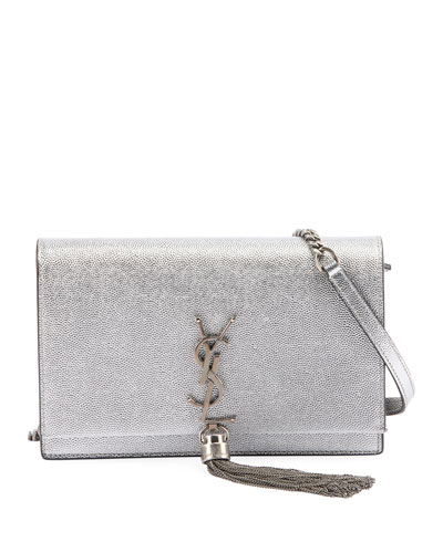 Kate Monogram YSL Small Crackled Metallic Tassel Wallet on Chain - Silver ...