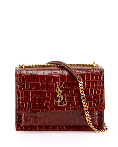 Sunset Medium YSL Monogram Faux-Croc Shoulder Bag