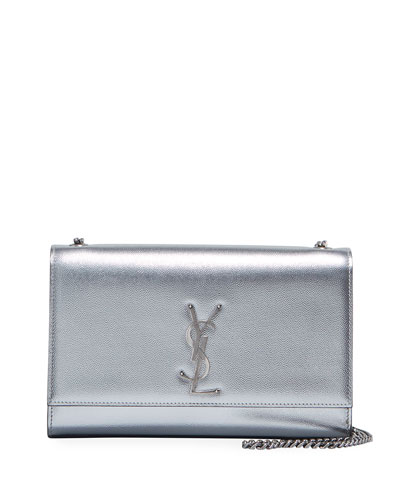 Kate Medium YSL Monogram Chain Metallic Leather Crossbody Bag