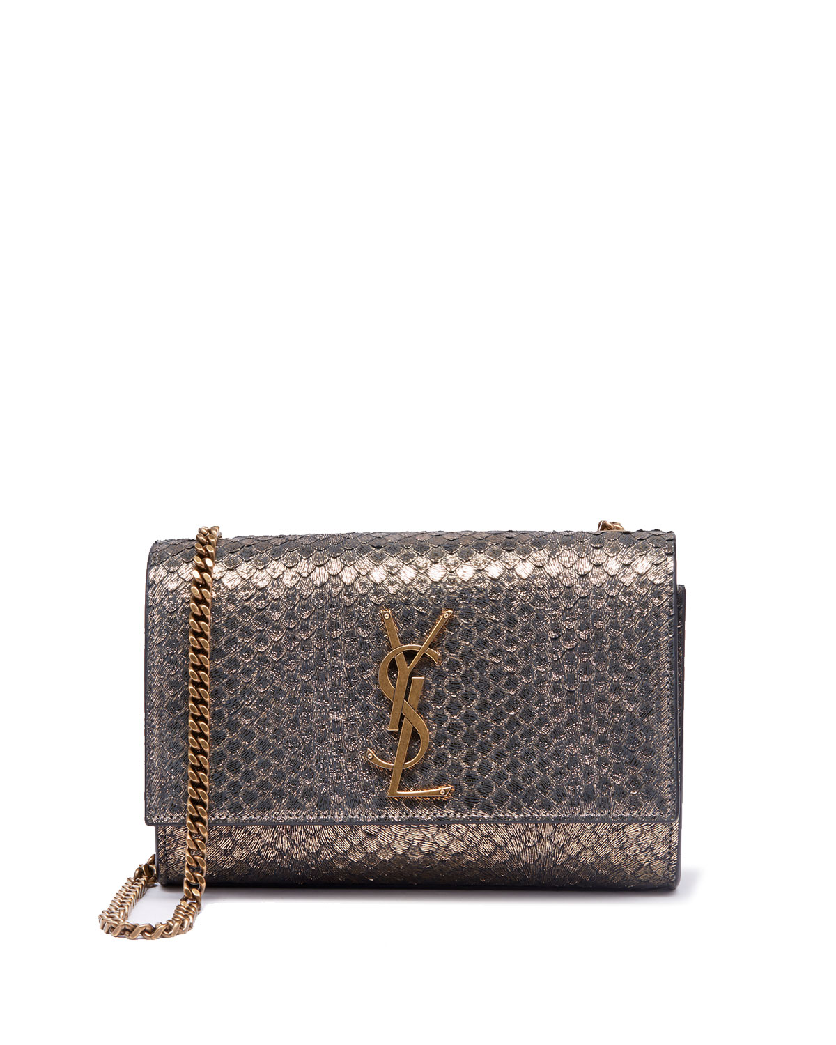 5e0e03441620 Saint Laurent Kate Monogram Ysl Small Python-Effect Crossbody Bag In Gold