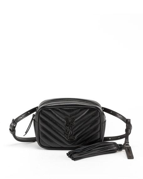 Saint Laurent Lou Quilted Calfskin Belt Bag, Black Hardware