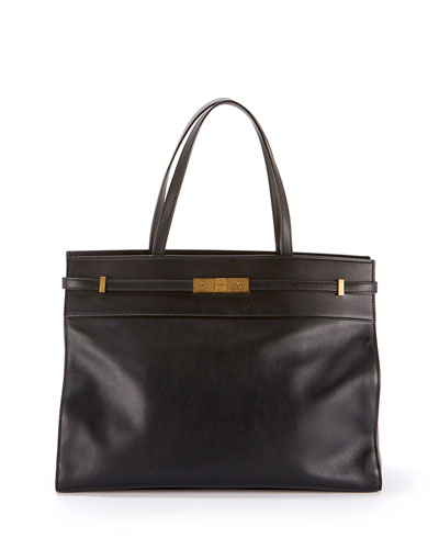 Manhattan Medium Belted Leather Shoulder Tote Bag - Bronze Hardware