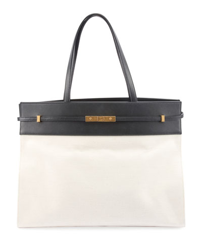 Manhattan Medium Two-Tone Canvas/Leather Tote Bag