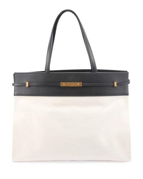 Saint Laurent Manhattan Medium Two-Tone Canvas/Leather Tote Bag