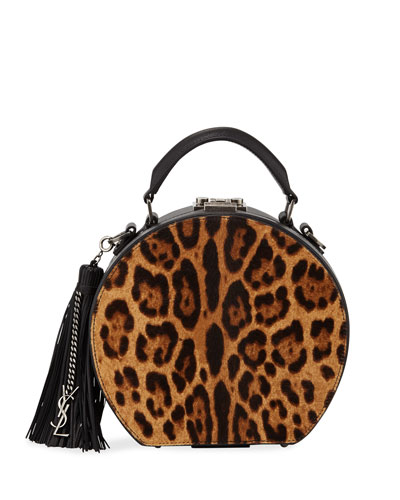 Mica Small Leopard Hatbox Crossbody Bag with YSL Charm