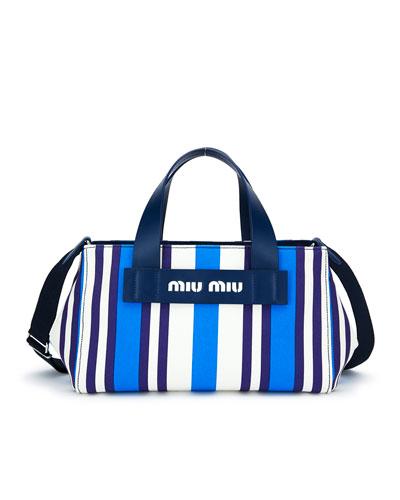 Striped Hemp & Leather Small Tote Bag