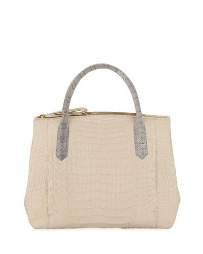 Nyx Medium Zip Crocodile Tote Bag