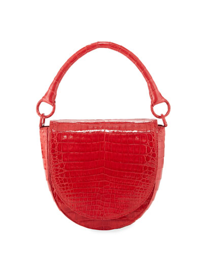Teddi Croc Semicircle Crossbody Saddle Bag