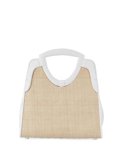 Small Keyhole Straw/Crocodile Top-Handle Bag