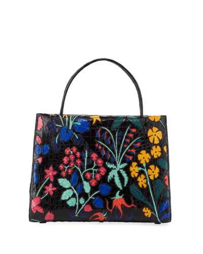 Wallis Large Floral Crocodile Tote Bag