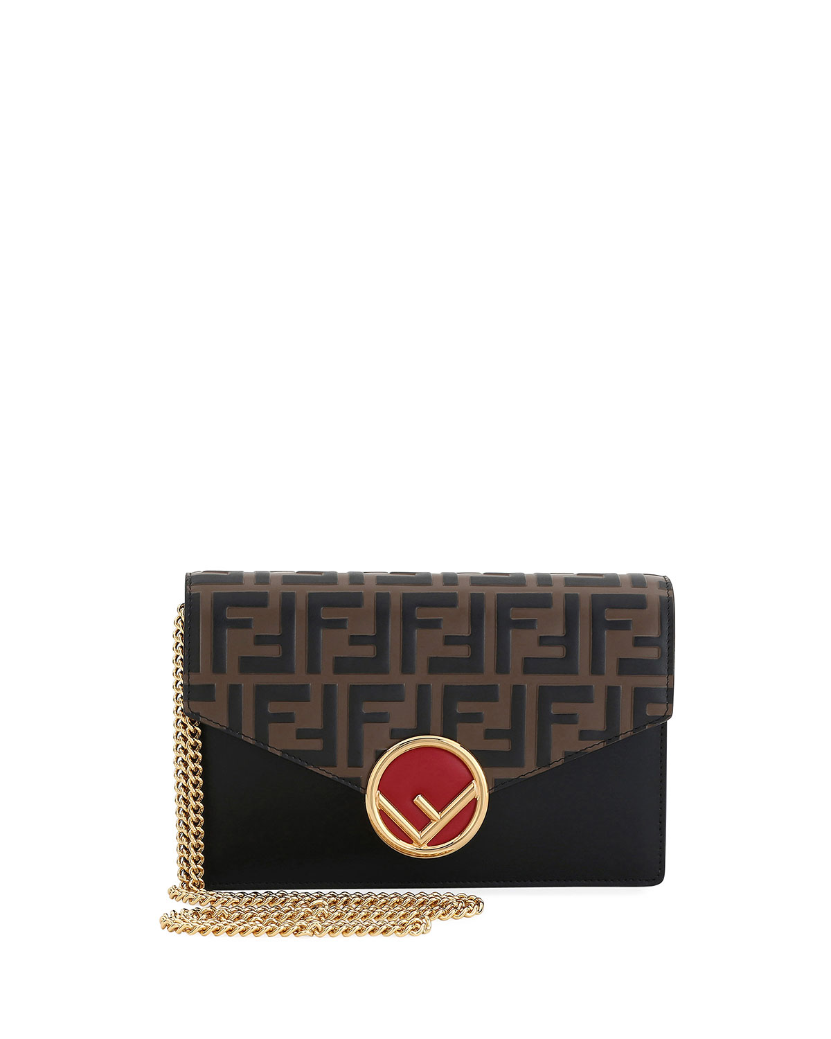 F Logo Liberty Wallet On A Chain in Brown Pattern