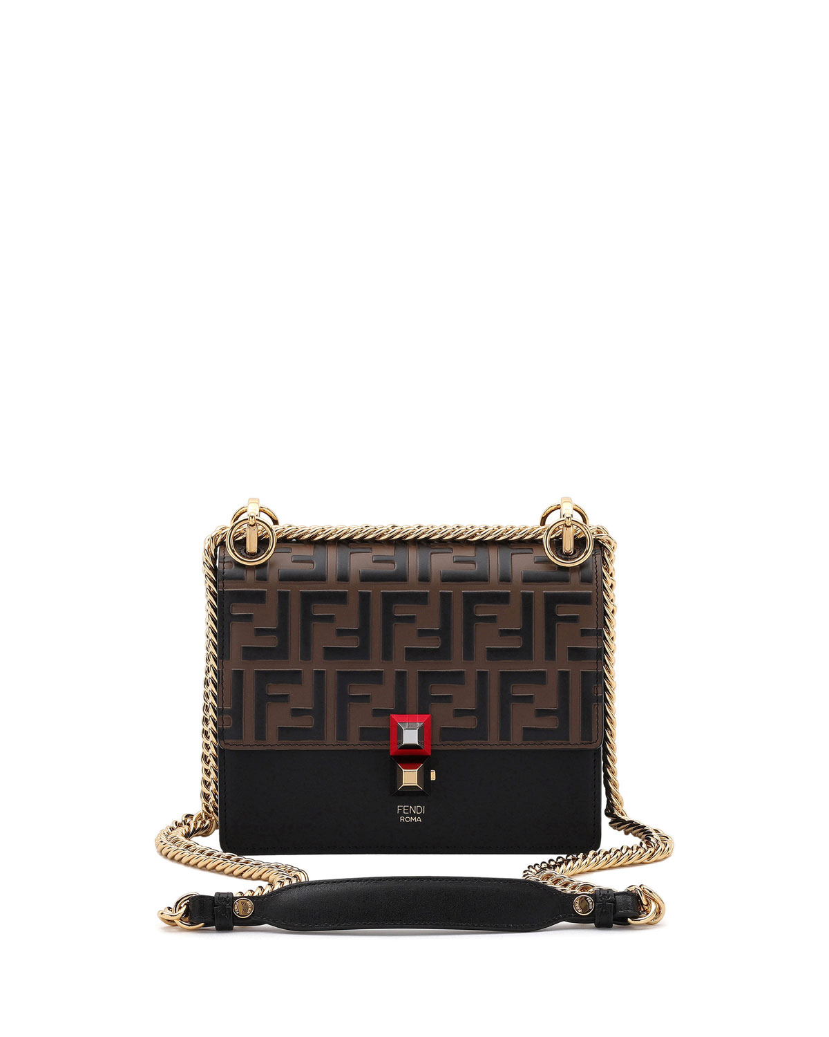 bb38e11b307d Fendi Kan I Small Leather Shoulder Bag - Tabacco In Brown