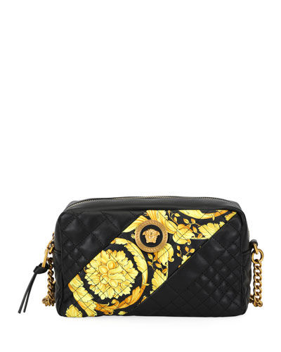 Icon Small Quilted Napa Camera Bag with Barocco Print