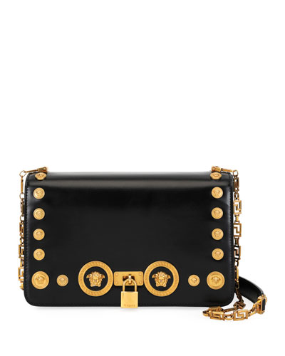 Icon Medium Calf Leather Crossbody Bag with Medusa Studs