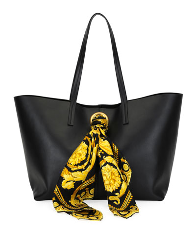 Calf Leather Shoulder Tote Bag with Barocco Scarf