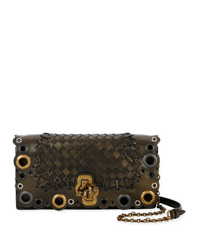 Quick Look Bottega Veneta Medium Lace Intrecciato Clutch Bag Available In Green Metallic