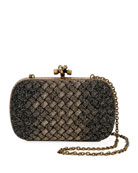Bottega Veneta Knitted Chain Knot Metallic Clutch Bag