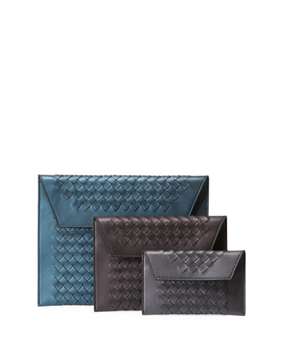 Three-In-One Nesting Woven Leather Pouch Bags