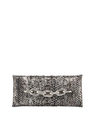 Python Chain-Handle Clutch Bag