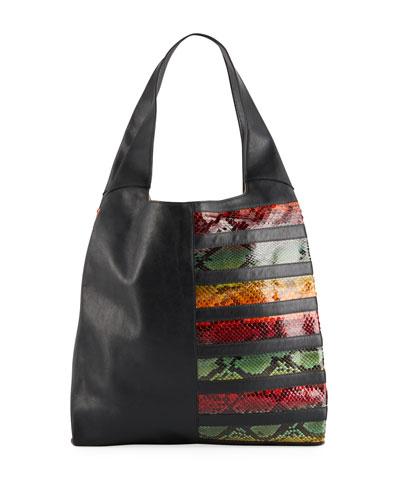 Grand Shopper Python and Leather Hobo Bag