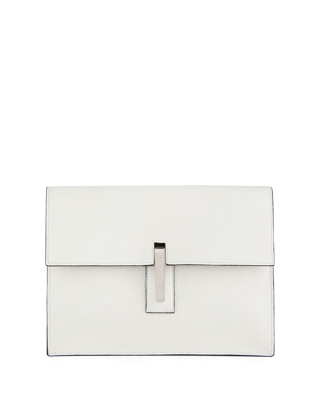 HAYWARD Soft Pebbled Clutch Shoulder Bag in White/Black
