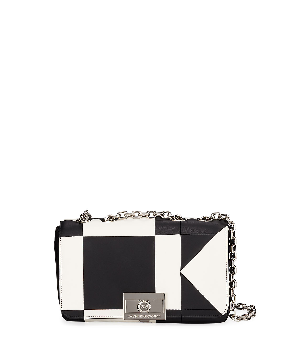 Billie Colorblock Leather Shoulder Bag in White/Black