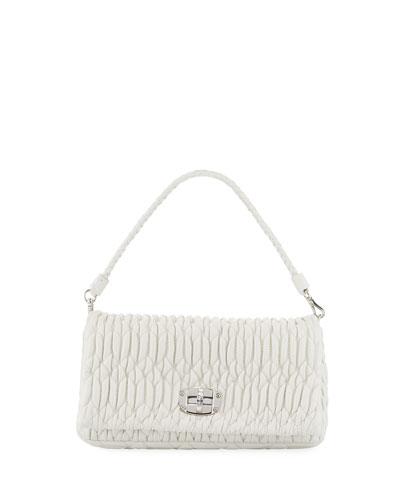 Matelasse Leather Shoulder Bag w/ Crystal Lock
