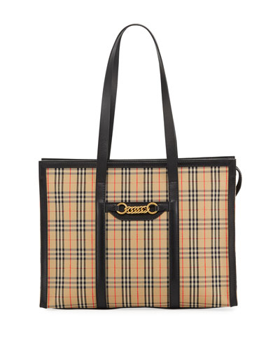 520025fc19bd Quick Look. Burberry · Link 1983 Check Shoulder Tote Bag