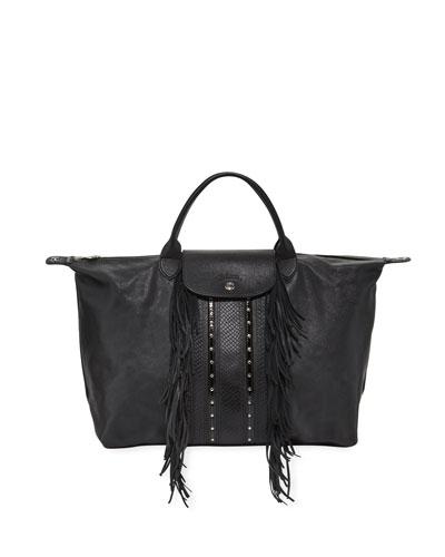 Le Pliage Rock Large Leather Tote Bag