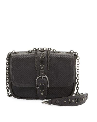 Amazone Rock Mini Snake-Print Leather Crossbody Bag