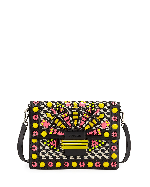 Raffia Embellished Shoulder Bag