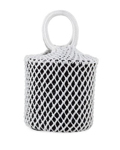 Straw and Macrame Net Bucket Bag