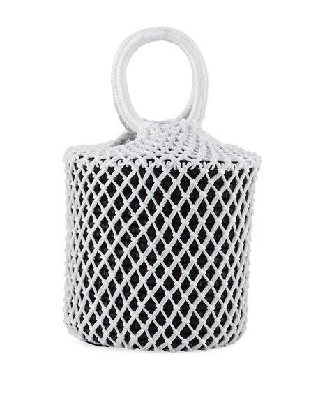 Sensi Studio Straw and Macrame Net Bucket Bag