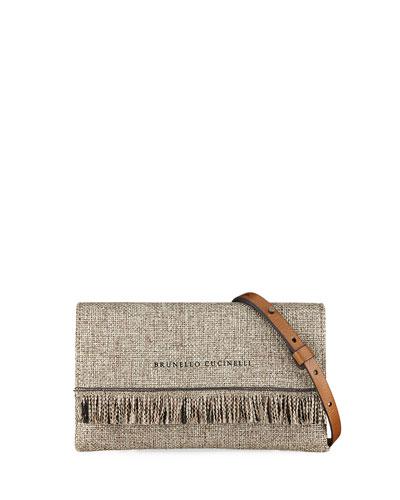 Woven Linen Crossbody Bag